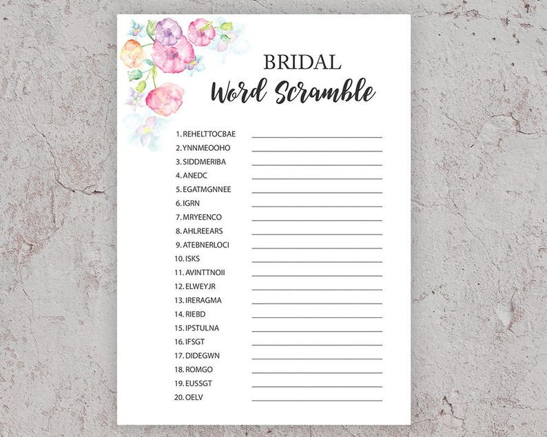 image about Free Printable Bridal Shower Games Word Scramble identify Bridal Term Scramble, Bridal Shower Online games, Phrase Scramble, Printable Shower Game titles, Bridal Shower Recreation Printable, Floral Bridal Shower, J010