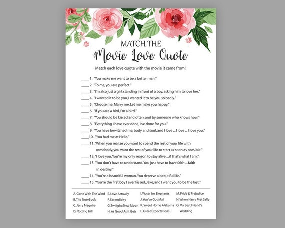 Match The Movie Love Quote Etsy