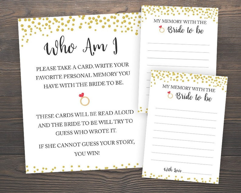 image regarding Bridal Games Printable known as Who am I, Bridal Shower Online games, Printable Bridal Shower, Reminiscences of the Bride Sport, Memory Guessing Activity, Gold Printable Who Am I, J001