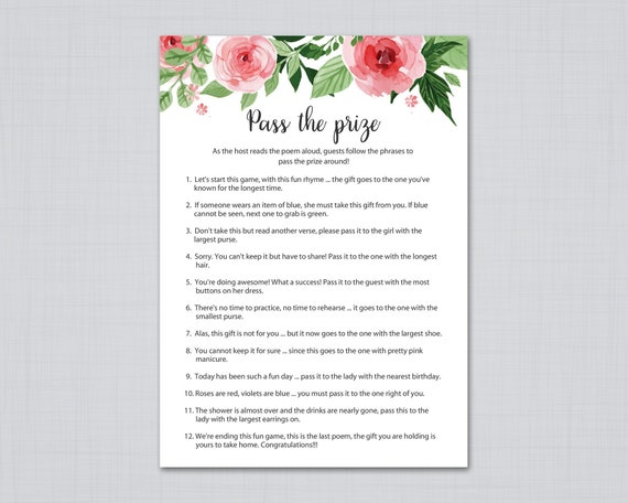 Cuscini Re Garden.Pass The Prize Bridal Shower Games Pass The Parcel Game Etsy