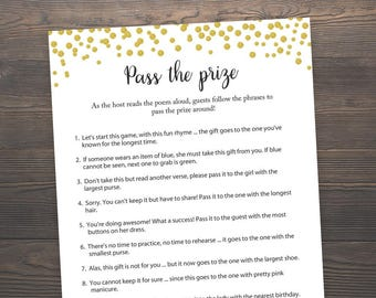 Pass the Prize, Bridal Shower Games, Pass the Parcel Game, Gold Confetti, Gold Bridal Shower, Rhyme Game, Parcel Game, J001
