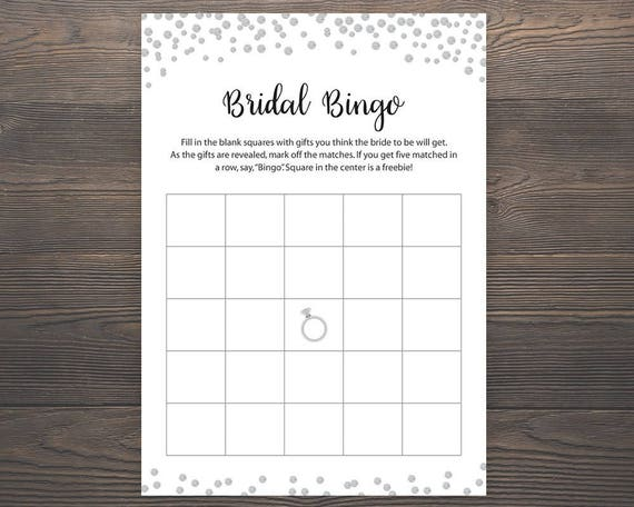 Silver Bridal Shower Games Bingo Printable