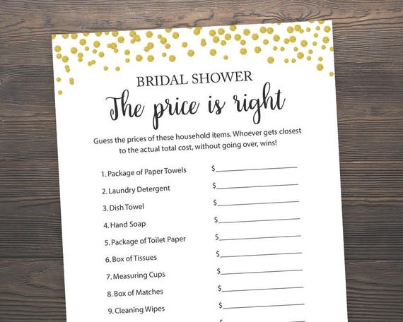 aa5b1103c593 The Price is Right Bridal Shower Games Gold Printable Games