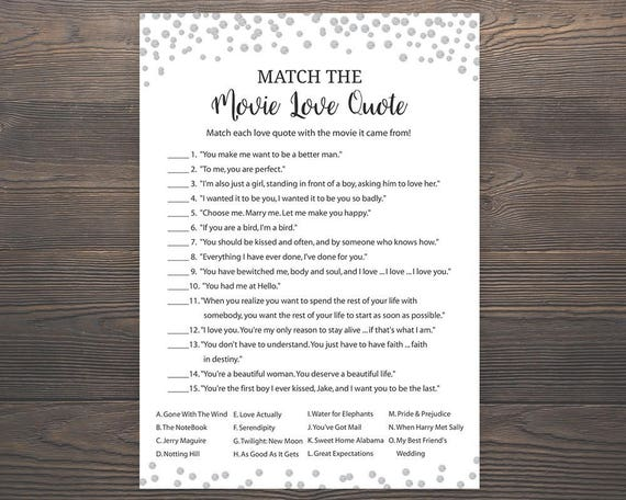 silver bridal shower games match the movie love quote
