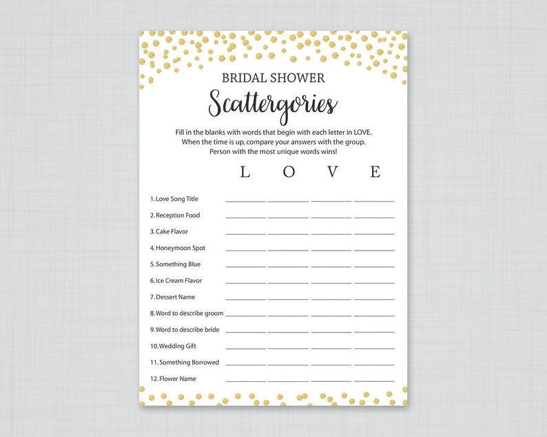 picture relating to Scattergories Lists 1 12 Printable titled Gold Bridal Shower Scattergories, Printable Bridal Shower, Gold Scattergories Shower Game titles, Gold Wedding ceremony Shower Online games, Gold Confetti, J001