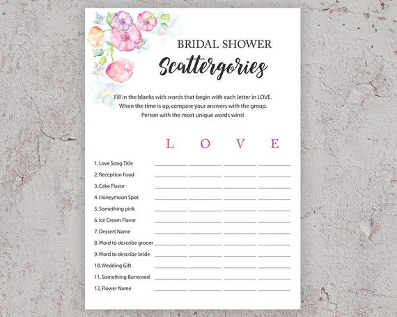 photo regarding Scattergories Lists 1 12 Printable identify Bridal Shower Scattergories, Bridal Shower Video games, Printable Do it yourself, Floral Bridal Shower, Activity,Watercolor Floral,Enjoy Scattergories, J010