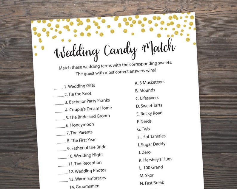 f79464196f688 Candy Bar Matching Game, Bridal Shower Games, Wedding Candy Match, Gold  Confetti, Candy Game, Gold Bridal Shower, Games Printable, J001