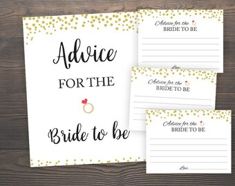 Advice for the Bride to be, Bridal Shower Advice Cards, Wedding Advice Cards, Gold Confetti, Gold Bridal Shower,Printable Advice Cards, J001