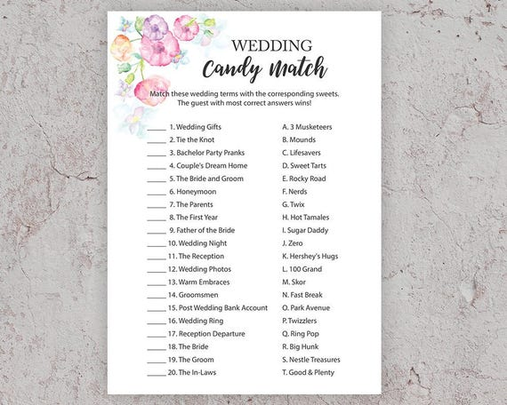 3d7b162ca3c2e Wedding Candy Match, Bridal Shower Games, Candy Game, Candy Bar Matching  Game,Wedding Shower Candy Game, Printable Shower Games, BSFP2