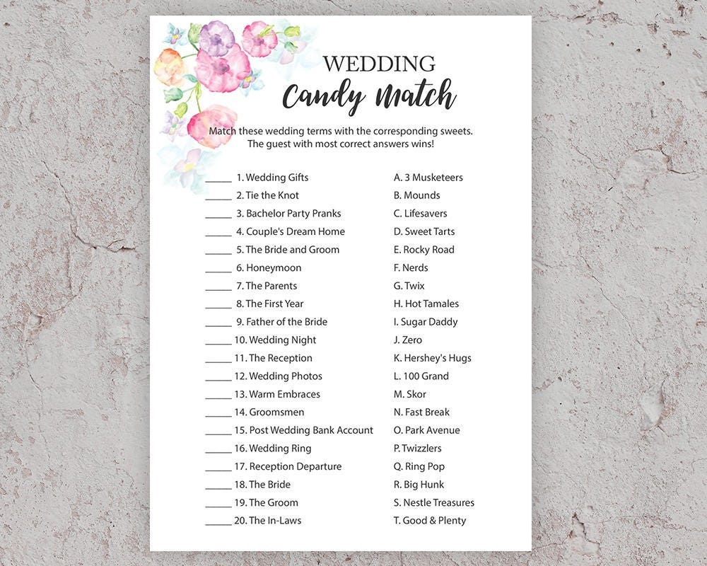 Wedding Candy Match Bridal Shower Games Candy Game Candy