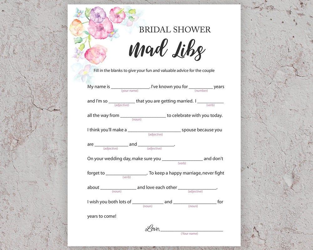 Bridal Shower Games Mad Libs Bridal Advice Printable Mad Etsy
