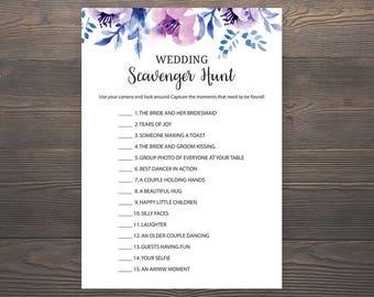 Wedding Scavenger Hunt, Lavender Bridal Shower Games, Wedding Reception Games, Wedding Activities, Reception Table Games, J007