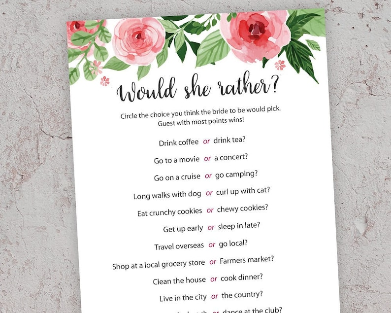 photo about Would She Rather Bridal Shower Game Free Printable named Would She Fairly, Bridal Shower Video games, Printable Bridal Shower, Floral Bridal Shower, Bridal Shower Match, Bachelorette Bash, Hens, J003