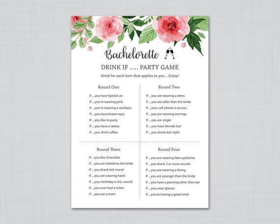 Re Garden Cuscini.Bachelorette Party Games Drink If Game Floral Bridal Shower Etsy