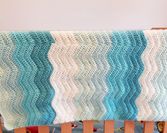 Crochet baby blanket, crochet blanket, baby blanket, baby boy blanket, new baby gift, blue and white blanket, wave baby blanket,