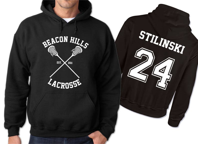Stilinski Stiles 24 Teen Wolf Lacrosse sudadera negra con  b2b14334071