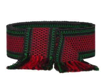 Handwoven colorful fringe belt M  woven southwestern striped wavy belt