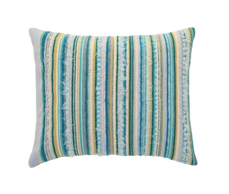 Green blue pillow cover Ukranian pillow Outdoor pilllow cover Colorful textured hand woven pillow Small woven pillowcase Sofa pillow cushion