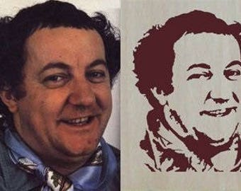 Portrait of Coluche handmade singourge, ideal Christmas present