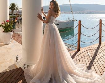 Detachable Train Wedding Dress Etsy