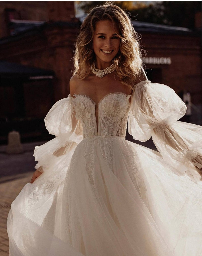 tulle puff removable sleeves for wedding dress Detachable bridal sleeves
