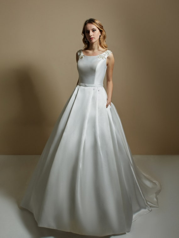Micado Dress A Line Dress Classic Wedding Dress Bridal Gown Wedding Dress Diamante Sposa Ivory Wedding Gown