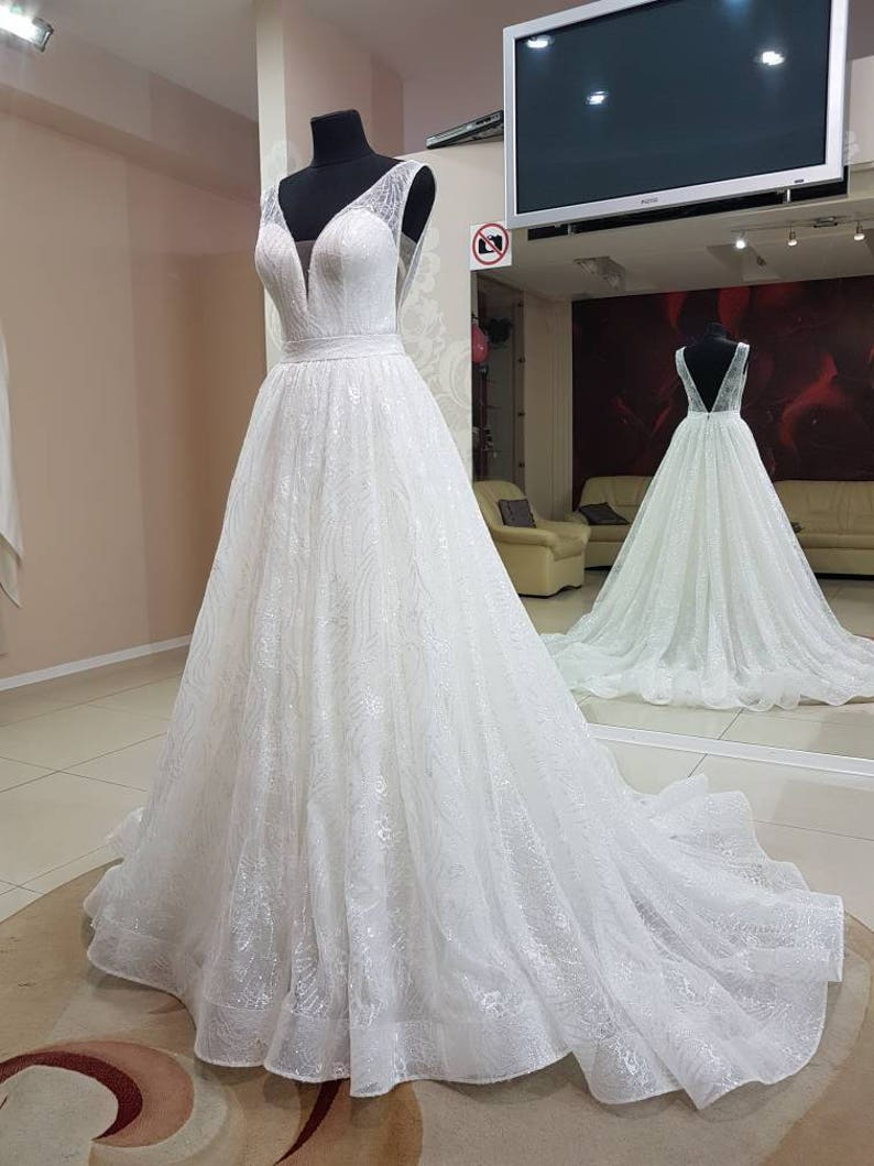 d7aded391b2 Sparkly wedding dress. Glitter wedding dress. A-line wedding