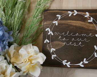 Welcome Sign, Wooden Sign, Wood Sign, Home