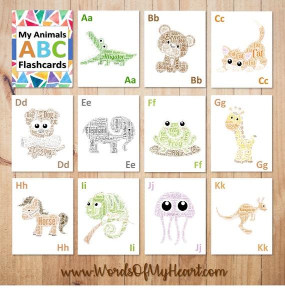 ABC animaux Alphabet Word imprimable Wall Art cartes - parfait comme pépinière Decor, cartes Flash de A à Z, les enfants les tout-petits enfants d'âge préscolaire activité anniversaires