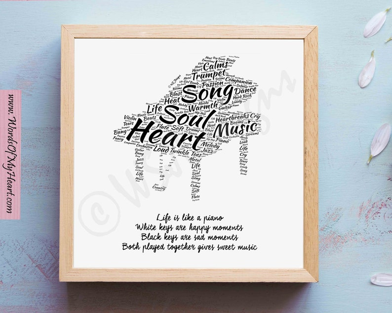 Printable Music Word Art Quote - Life is like a Piano  Perfect Gift for  Pianist, Musicians, Music Studio, Home Decor, Wall Art, Gallary Art