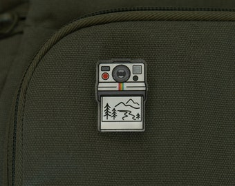 Outdoor Photographer Acrylic Camera Pin | Backpack, Hike, Travel, Exploring Nature, Mountain, Vintage film, Gift, Jacket, Shirt, Hat