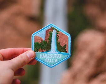 Havasupai Falls Patch | Grand Canyon Souvenir, Arizona, Woven, Iron-on or sew on, Polyester Blend Twill, Jeans, Jackets, Hats