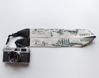 National Park Inspired Camera Strap Outdoor Adventure Green with Black backing