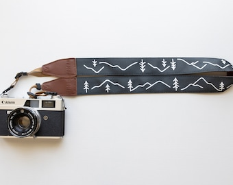 Camera Strap Simple Mountain Design, Outdoor Adventure, Blue color, Photography Accessories, Trees & Mountains, Vegan leather