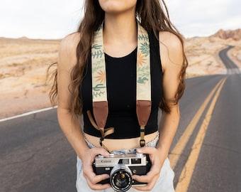 Camera Strap Wild Desert Design | Photography Accessories | Floral, cacti, plants | Vegan Leather