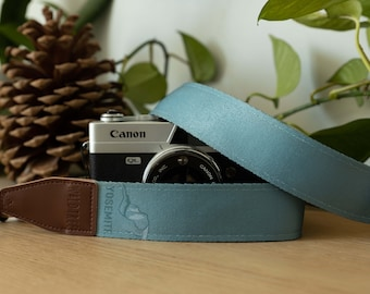 Yosemite National Park Inspired Camera Strap, Outdoor Adventure, Simple Color Blue, Photography Accessories, Travel Souvenir, Vegan Leather