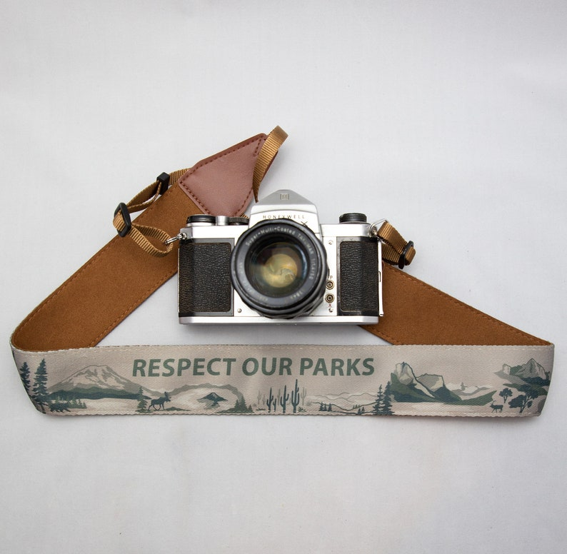 National Park Inspired Camera Strap Outdoor Adventure Green