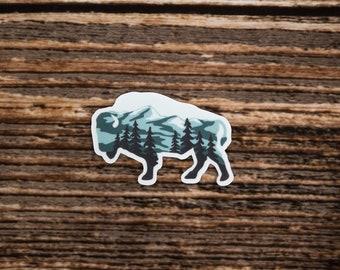 Bison Landscape Sticker, Bison Shaped, Mountain Range, Forest, Wildlife, Animal, Vinyl, Decal, Bumper, Laptop, Hiking, Travel, Water Bottle