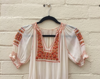 e633177cf30517 1920s /1930s Hungarian, Eastern-European Hand-Embroidered Blouse in shades  of Orange and White