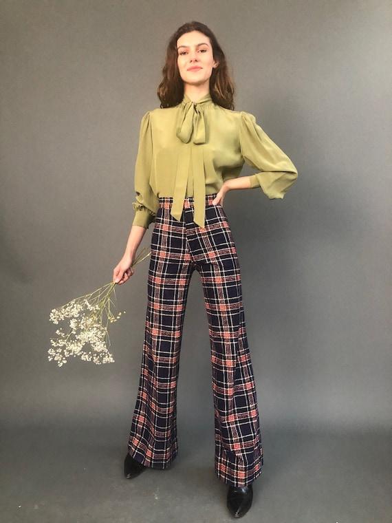 70's Corduroy Ribcage Flared Plaid Pants