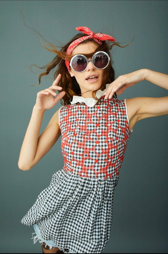 Vintage Embroidered Cotton Gingham Peplum country