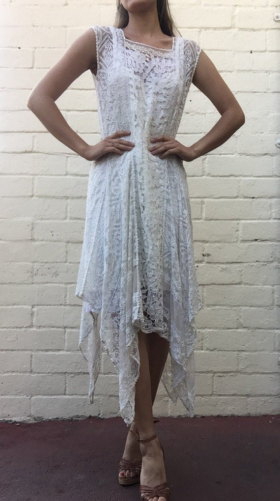 French lace crochet wedding dress 20's 1920's / Ba