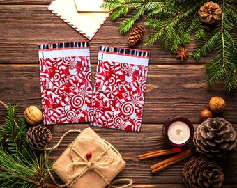 25 6x9 Designer Candy Cane Mailers Poly Shipping Envelopes Holiday Boutique Bag