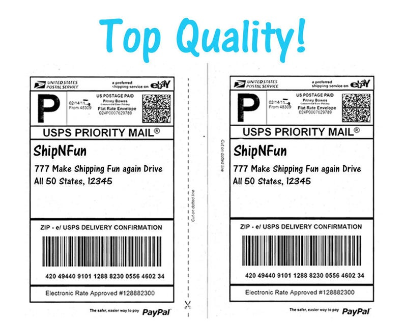 200 Shipping Labels - Top Quality Jam Free, 2 Labels per Sheet Mailing  Address Labels, PayPal, USPS, Fedex, UPS Approved Half Page Stickers