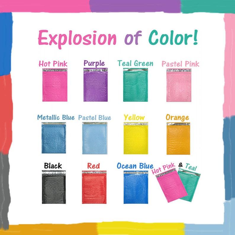 Self Seal Adhesive Shipping Bags Protective Fun Padded envelopes Pink 20 Pack 8.5x12 Colored Poly Bubble Mailers Blue Purple Teal Green