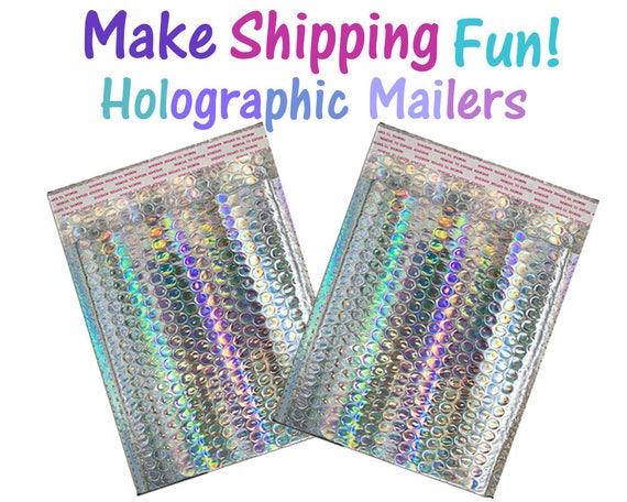 30 pack 7x11 Holographic Metallic Bubble Mailers Size #1 Padded Self Sealing Envelopes 7.25x11 Usable Protective Top Quality Shipping