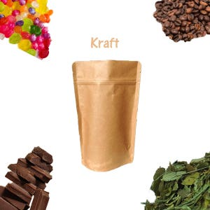 25 Pack 2 oz Natural Kraft Stand Up Pouch Bags Tea Paper Coffee Favor Bags Food Safe Resealable Packaging Bags Foil Product Storage