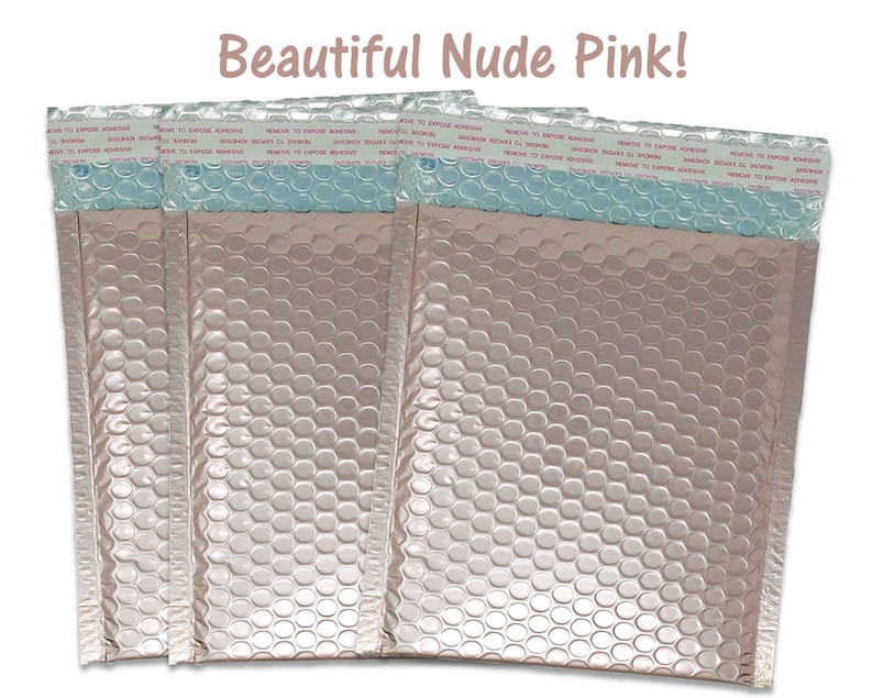 8.5x11 Usable Space Quality Padded Waterproof Shipping Envelopes 100 Pack 8.5x12 Nude Pink Metallic Bubble Mailers