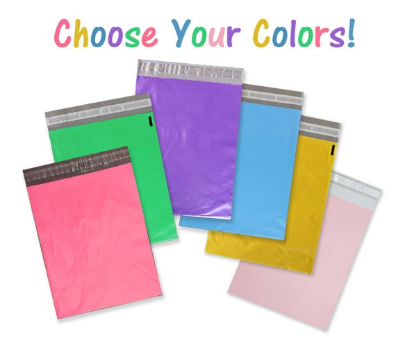 100 Poly Bag Shipping Envelope Combo ~ 50 ea of 2 Sizes ~ Self-Sealing Mailers