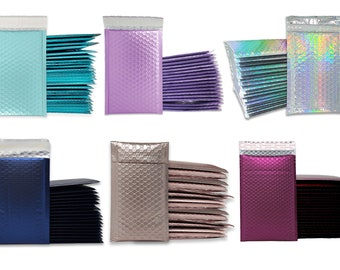 """4x8"""" Purple Lilac, Nude Pink, Holographic, Blue Midnight, Aqua Ice Blue, Burgundy Metallic Bubble Mailers, Padded Envelopes, 4x7.25 Inside"""